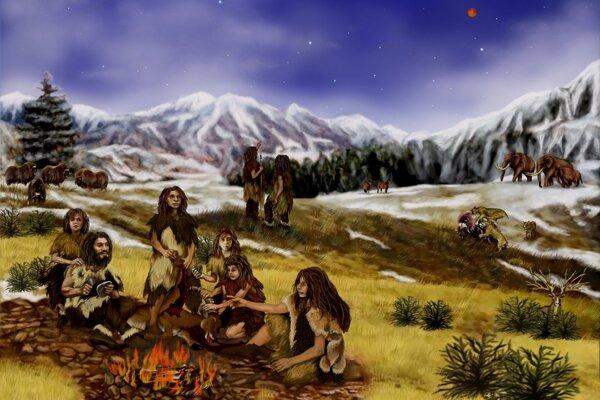 Umelecká predstava o živote neandertálcov. Jedincom, ktorí žili v chladnom mokrom a veternom prostredí, na kostiach okolo zvukovodu začali vznikať výrastky.
