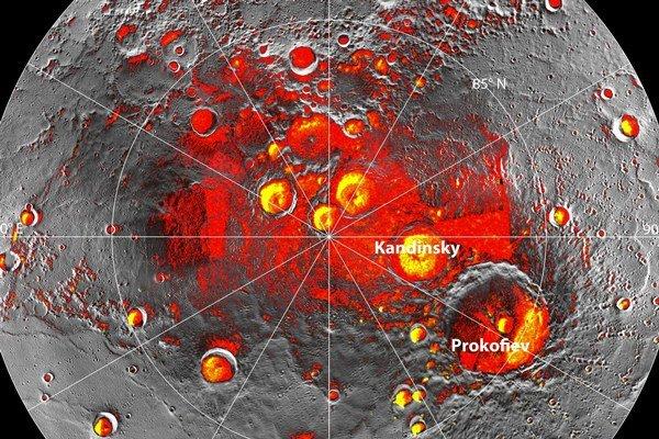 Oblasti trvalo v tieni a krátery s vodným ľadom na Merkúre.
