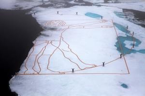 Topiaci sa ľad v Arktíde zničil reprodukciu Vitruvia od Leonarda da Vinci.