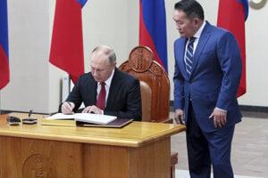 Prezidenti Ruska a Mongolska Vladimir Putin a Chaltmágín Battulga.