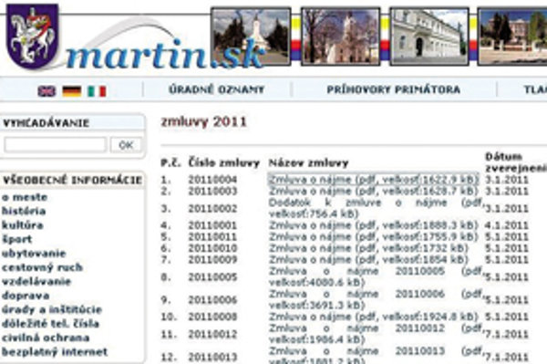 Martin zverejnil na stránke zatiaľ 32  zmlúv. Sú naskenované, všeobecne pomenované a so začierneným zmluvným partnerom.