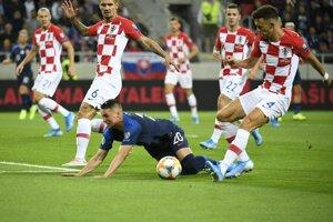 Róbert Mak v zápase Slovensko - Chorvátsko v kvalifikácii na EURO 2020.