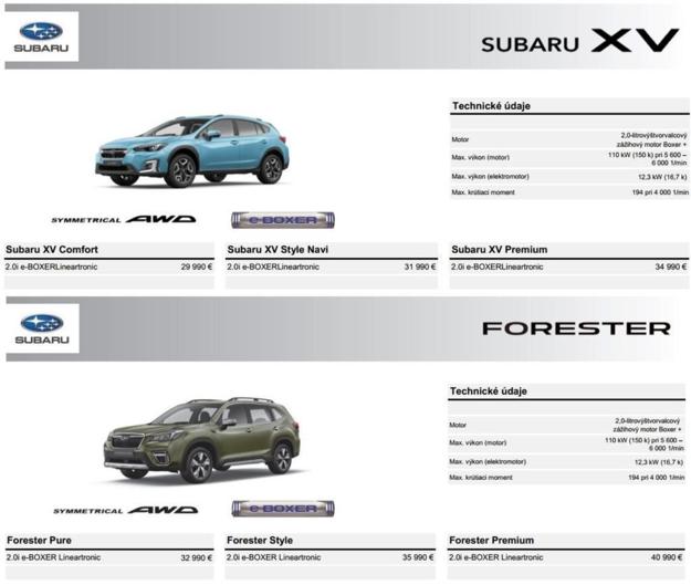 Cenník hybridných modelov Forester a XV