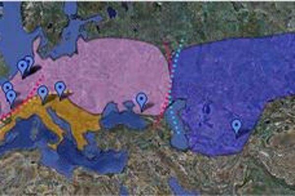 Mapka ukazuje tri genetické skupiny neandertálcov, ktoré sa prekrývajú s anatomickými. Štvrtú zrejme tvorili neandertálci z Blízkeho východu.