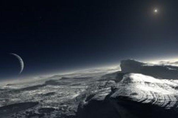 Umelecká vízia povrchu Pluta na základe jedného z možných vysvetlení nových pozorovaní, ktoré predpokladá výskyt plôch čistého metánu. Vľavo je znázornený Plutov mesiac Charon, vpravo v pozadí je Slnko, z Pluta asi tisícnásobne slabšie ako zo Zeme.