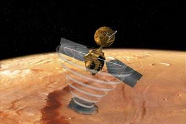 Umelecká vízia sondy MRO nad Marsom. Symbolika vĺn, ktoré prúdia z antény, naznačuje skúmanie vrstiev pod povrchom radarovým zariadením SHARAD. Práve toto zariadenie doložilo prítomnosť skrytých ľadovcov, potenciálnych zásobární vody pre ľudí na červenej
