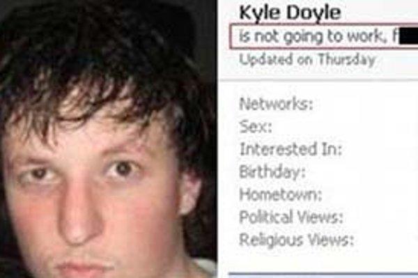Informácie zo sociálnej siete ako usvedčujúci dôkaz? Australčan  Kyle Doyle o tom vie svoje. Jeho status z Facebooku dokazujúci, že v práci nebol kvôli alkoholu a nie chorobe, obletel internet.