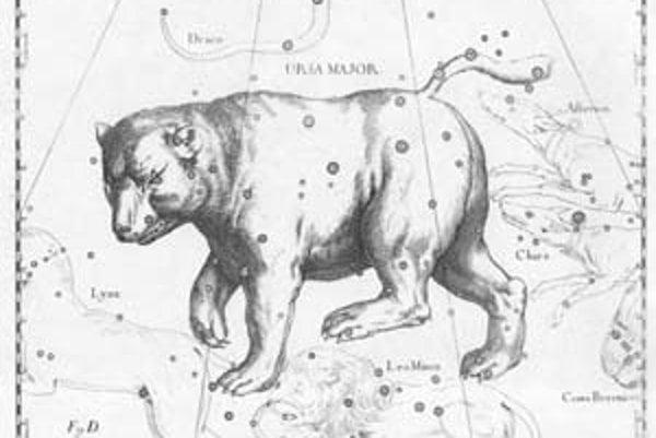 Reprodukcia súhvezdia z diela Uranografia, Johannes Hevelius (1690).