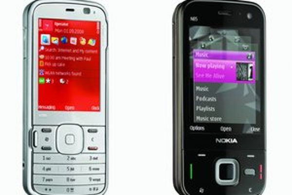 Firma Nokia chce, aby nové modely telefónov N79 (vľavo) a N85 konkurovali mobilom s dotykovými displejmi.