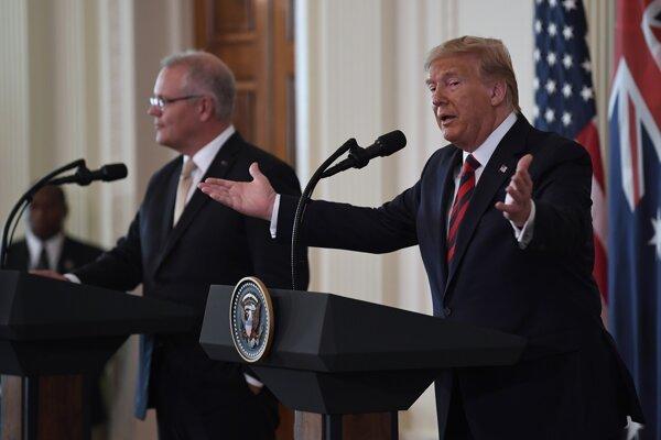 Trump s Morrisonom na tlačovej besede.