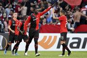 M'Baye Niang zo Stade Rennes - iulustračná fotografia.