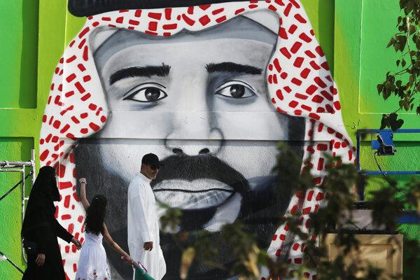 Graffiti princa bin Salmána v Rijáde.