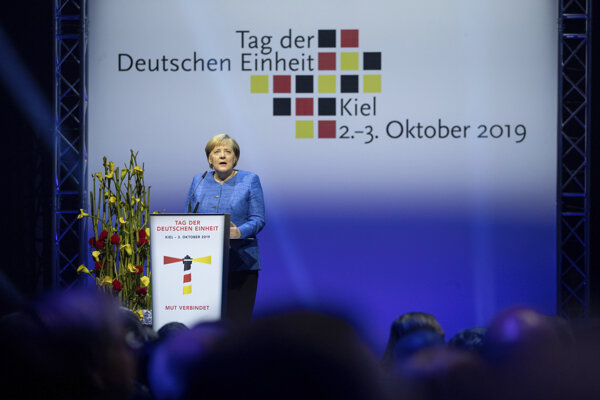 Nemecká kancelárka Angela Merkelová na oslavách Dňa nemeckej jednoty.