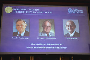 Oznámenie trojice laureátov Nobelovej ceny za chémiu pre rok 2019.