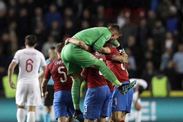 Momentka po zápase Česko - Anglicko v kvalifikácii EURO 2020.