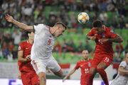 Momentka zo zápasu Maďarsko - Azerbajdžan v kvalifikácii EURO 2020.