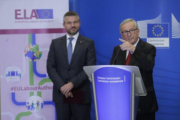 Peter Pellegrini a Jean-Claude Juncker.