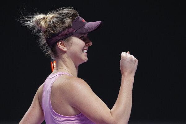 Elina Svitolinová počas zápasu so Sofiou Keninovou na WTA Finals 2019.