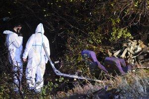 Vyšetrovatelia na mieste dopravnej nehody, ktorá sa stala 13. novembra 2019 na zlatomoravskej ceste I/65 neďaleko Malanty pri Nitre.
