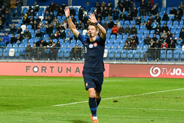 Radosť Martina Gamboša zo Slovenska po góle v kvalifikačnom futbalovom zápase 2. skupiny na ME 2021 do 21 rokov Slovensko - Gruzínsko.