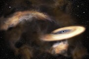 Umelecká predstava plynného oblaku, ktorý víri okolo čiernej diery.