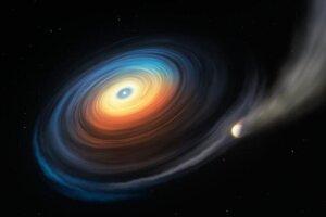 Umelecká predstava o bielom trpaslíkovi WDJ0914+1914, okolo ktorého krúži ľadový obor podobný Neptúnu či Uránu. Extrémne žiarenie z hviedy postupne vyparuje planétu a plyny z nej sa hromadia okolo disku pri hviezde.