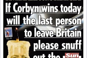 Ak Corbyn dnes vyhrá, posledná osoba, ktorá bude opúšťať Britániu, by, prosím, mohla sfúknuť  svietku, odkazuje bulvár krajiny The Scottish Sun.