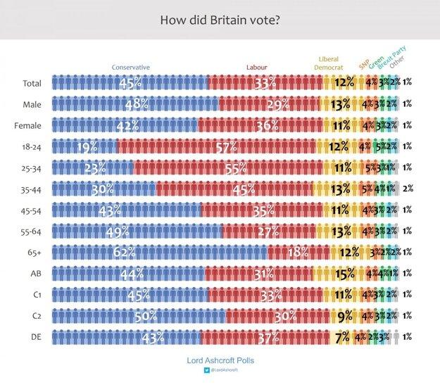 Ako volili Briti podľa veku.