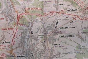 Celý severný obchvat mesta Prešov.