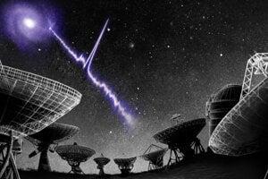 Umelecká predstava rýchleho rádiového záblesku 180916.J0158+65, ktorý vychádza zo svojej hosťovskej galaxie.