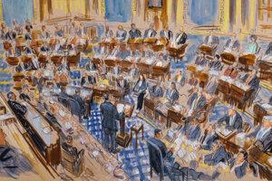 Kresba zachytáva právneho poradcu Bieleho domu - Pat Cipollone na nej hovorí v Senáte počas procesu impeachmentu voči prezidentovi Trumpovi. Washington, 21. január 2020.