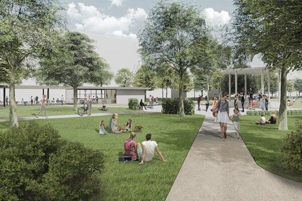Návrh budúcej kaviarne v v žilinskom parku.