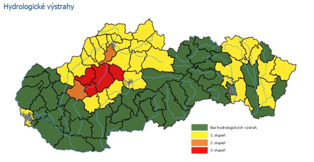 Hydrologické výstrahy upozorňujú v stredu na riziko vzniku povodní.