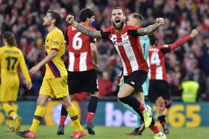 Inigo Martínez sa raduje po triumfe Athletica Bilbao nad FC Barcelona.