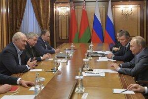 Piatkové stretnutie delegácie ruského prezidenta Vladimira Putina a bieloruskej hlavy štátu Aleksandra Lukašenka v Soči.