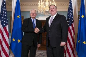 Vysoký predstaviteľ Európskej únie pre zahraničnú a bezpečnostnú politiku Josep Borrell a americký minister zahraničných vecí Mike Pompeo.