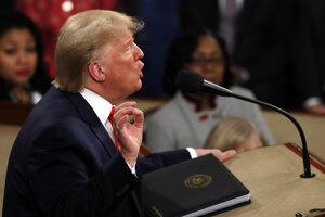 Prezident Donald Trump prednáša správu o stave Únie v Kongrese USA 4. februára 2020.