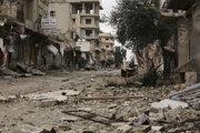 Ulica v meste Sarmin v provincii Idlib.