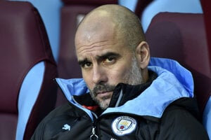 Tréner Manchesteru City Pep Guardiola.