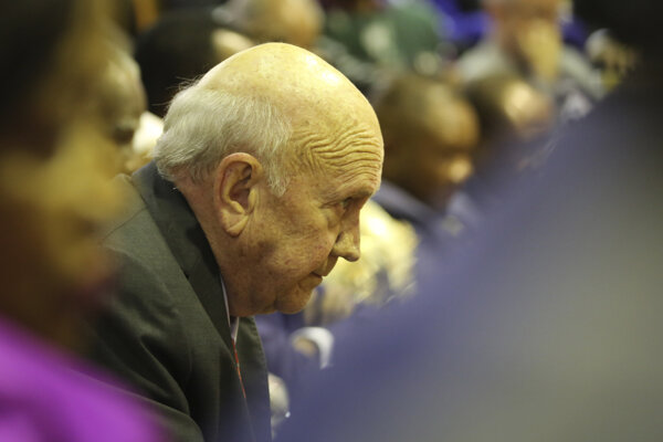 Bývalý juhoafrický prezident Frederik Willem de Klerk.