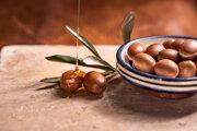 Plody argánovníka. Vyrába sa z nich arganový olej.