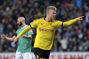 Erling Braut Haaland sa teší po strelenom góle.