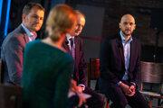 Fotografia z utorkovej predovolebnej debaty SME s Igorom Matovičom (OĽaNO), Andrejom Kiskom (Za ľudí) a Michalom Trubanom (PS).