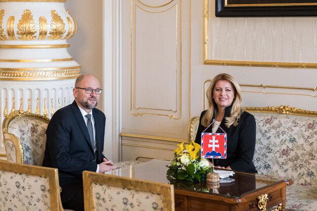 Voľby 2020: Predseda SaS Richard Sulík na stretnutí s prezidentkou Zuzanou Čaputovou.