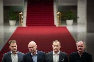 Voľby 2020: Richard Sulík, Boris Kollár, Igor Matovič a Andrej Kiska počas brífingu po ich prvom stretnutí o rokovaniach k budúcej koalícii.