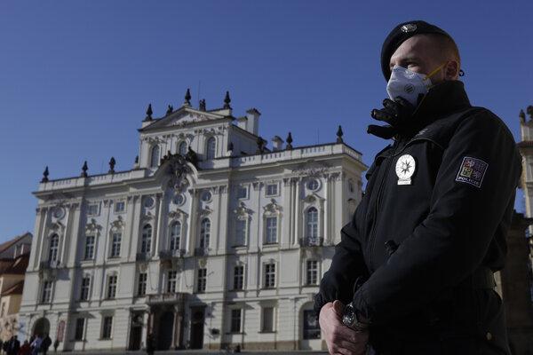 Strážnik na nádvorí pred pražským hradom.