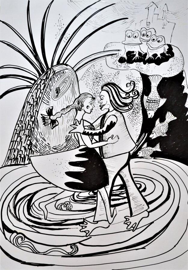 Ukážka ilustrácie z rozprávky O vodníkovi a Aničke.