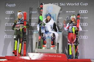 Zľava Mikaela Shiffrinová, Petra Vlhová a Katharina Liensbergerová.