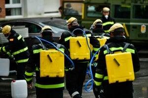 Dezinfekcia proti vírusu v španielskom meste Pamplona 31. marca 2020.