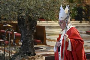 Pápež František v bazilike svätého Petra počas slávenie kvetnej nedele.